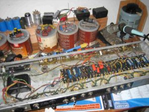 Vintage Blackface Fender Amp in the midst of an overhaul